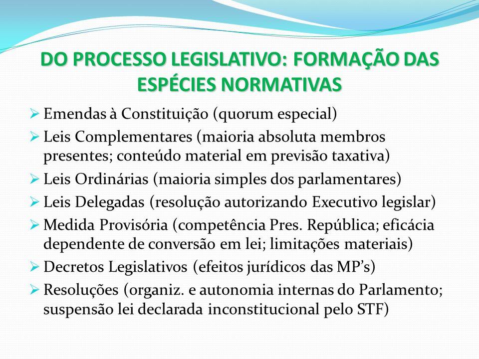 DO PROCESSO LEGISLATIVO: FORMAÇÃO DAS ESPÉCIES NORMATIVAS Emendas à Constituição (quorum especial) Leis Complementares (maioria absoluta membros prese