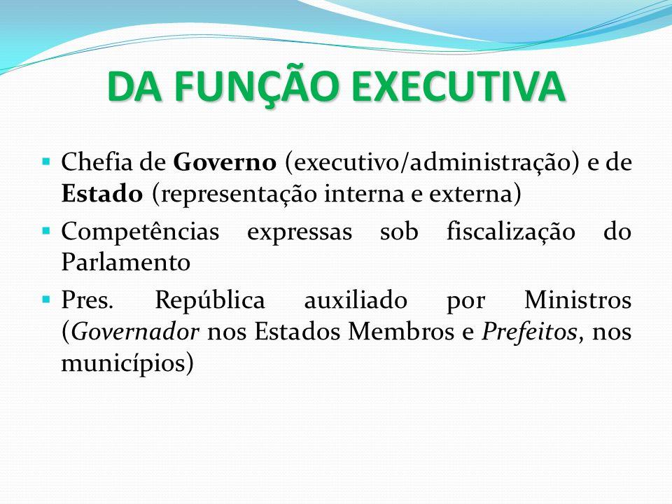 DA FUNÇÃO EXECUTIVA Chefia de Governo (executivo/administração) e de Estado (representação interna e externa) Competências expressas sob fiscalização
