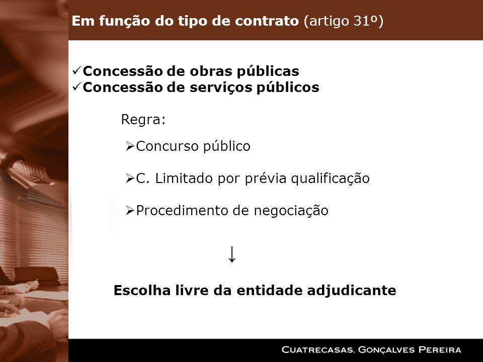 Em função do tipo de contrato (artigo 31º) Concessão de obras públicas Concessão de serviços públicos Regra: Concurso público C. Limitado por prévia q