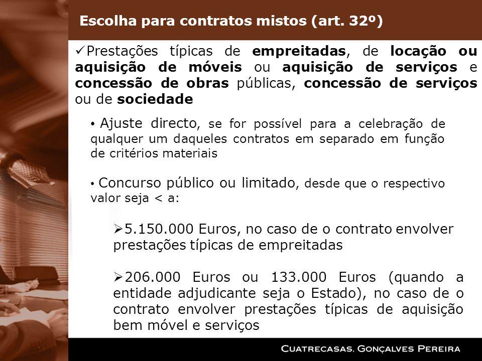 Prestações típicas de empreitadas, de locação ou aquisição de móveis ou aquisição de serviços e concessão de obras públicas, concessão de serviços ou