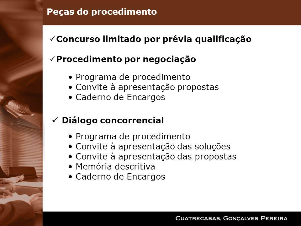 Concurso limitado por prévia qualificação Procedimento por negociação Programa de procedimento Convite à apresentação propostas Caderno de Encargos Di