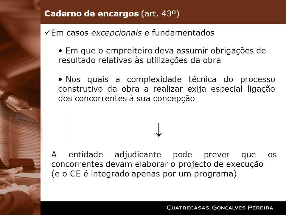 Em casos excepcionais e fundamentados Em que o empreiteiro deva assumir obrigações de resultado relativas às utilizações da obra Nos quais a complexid