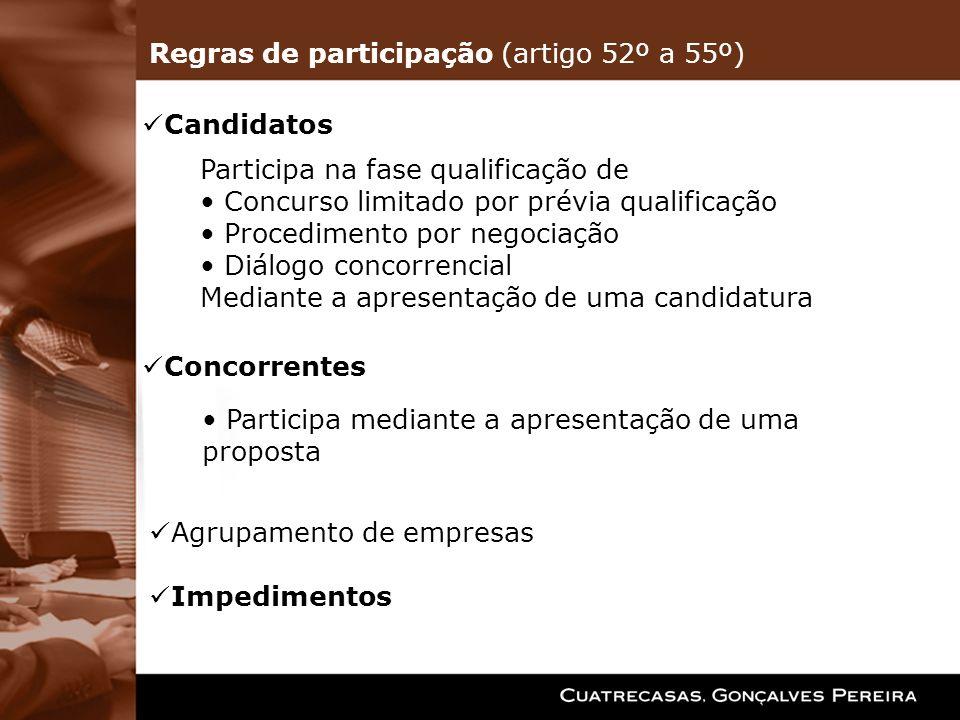 Candidatos Participa na fase qualificação de Concurso limitado por prévia qualificação Procedimento por negociação Diálogo concorrencial Mediante a ap