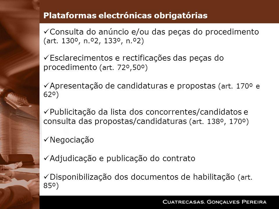 Consulta do anúncio e/ou das peças do procedimento (art. 130º, n.º2, 133º, n.º2) Esclarecimentos e rectificações das peças do procedimento (art. 72º,5