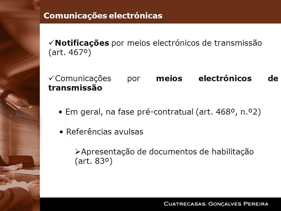 Comunicações por meios electrónicos de transmissão Em geral, na fase pré-contratual (art. 468º, n.º2) Referências avulsas Apresentação de documentos d