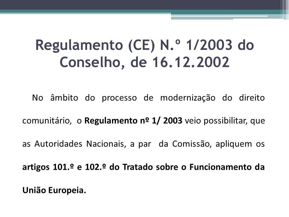Regulamento (CE) N.º 1/2003 do Conselho, de 16.12.2002 No âmbito do processo de modernização do direito comunitário, o Regulamento nº 1/ 2003 veio pos