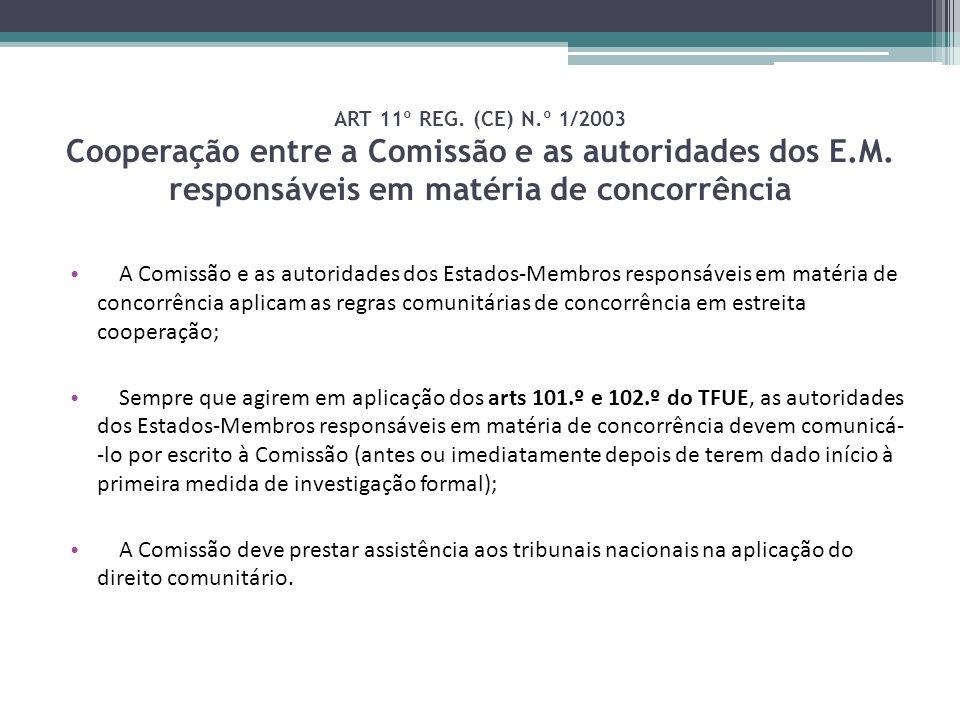 ART 11º REG. (CE) N.º 1/2003 Cooperação entre a Comissão e as autoridades dos E.M. responsáveis em matéria de concorrência A Comissão e as autoridades