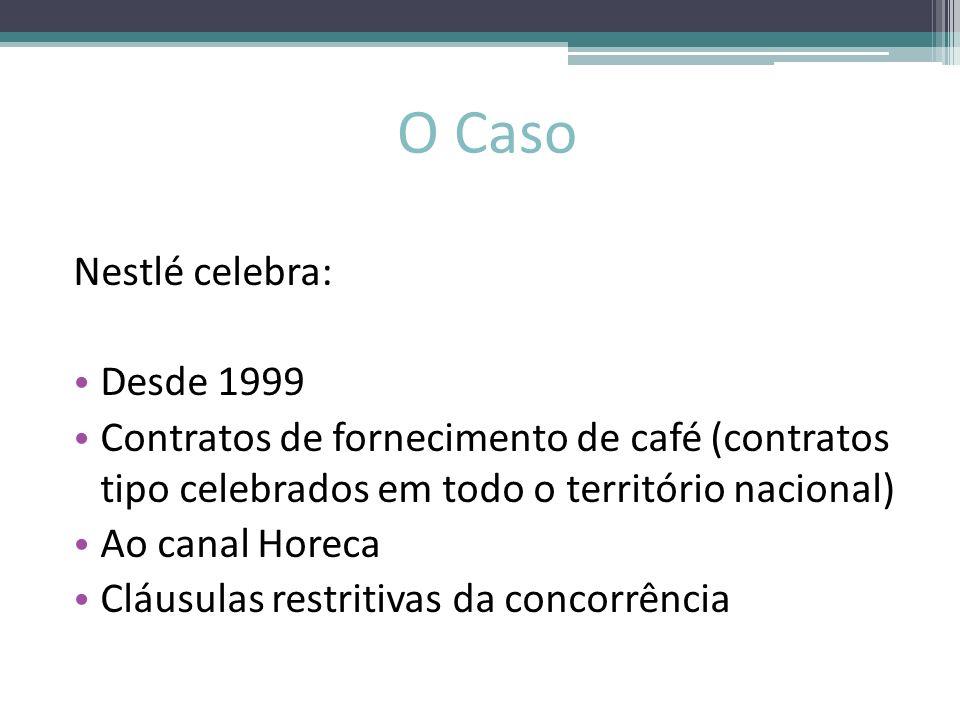 O Caso Nestlé celebra: Desde 1999 Contratos de fornecimento de café (contratos tipo celebrados em todo o território nacional) Ao canal Horeca Cláusula