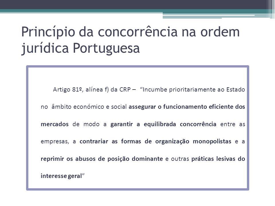 Princípio da concorrência na ordem jurídica Portuguesa Artigo 81º, alínea f) da CRP – Incumbe prioritariamente ao Estado no âmbito económico e social
