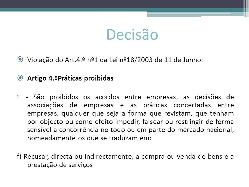 Decisão Violação do Art.4.º nº1 da Lei nº18/2003 de 11 de Junho: Artigo 4.ºPráticas proibidas 1 - São proibidos os acordos entre empresas, as decisões