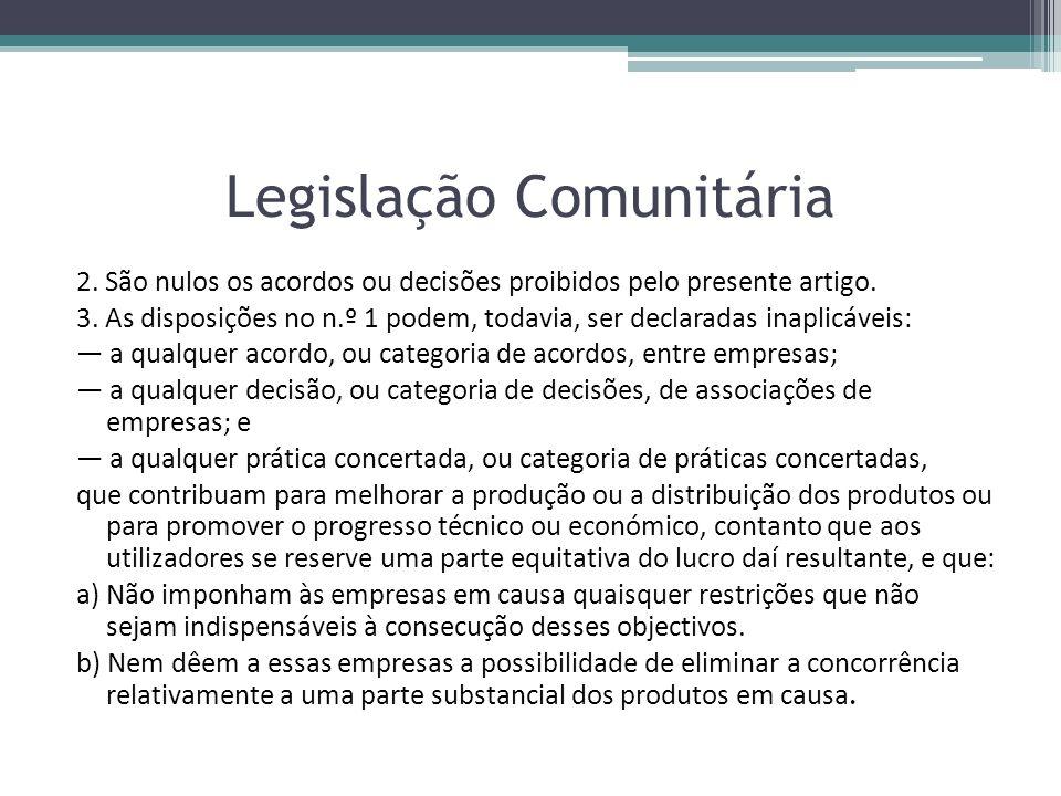 Legislação Comunitária 2. São nulos os acordos ou decisões proibidos pelo presente artigo. 3. As disposições no n.º 1 podem, todavia, ser declaradas i