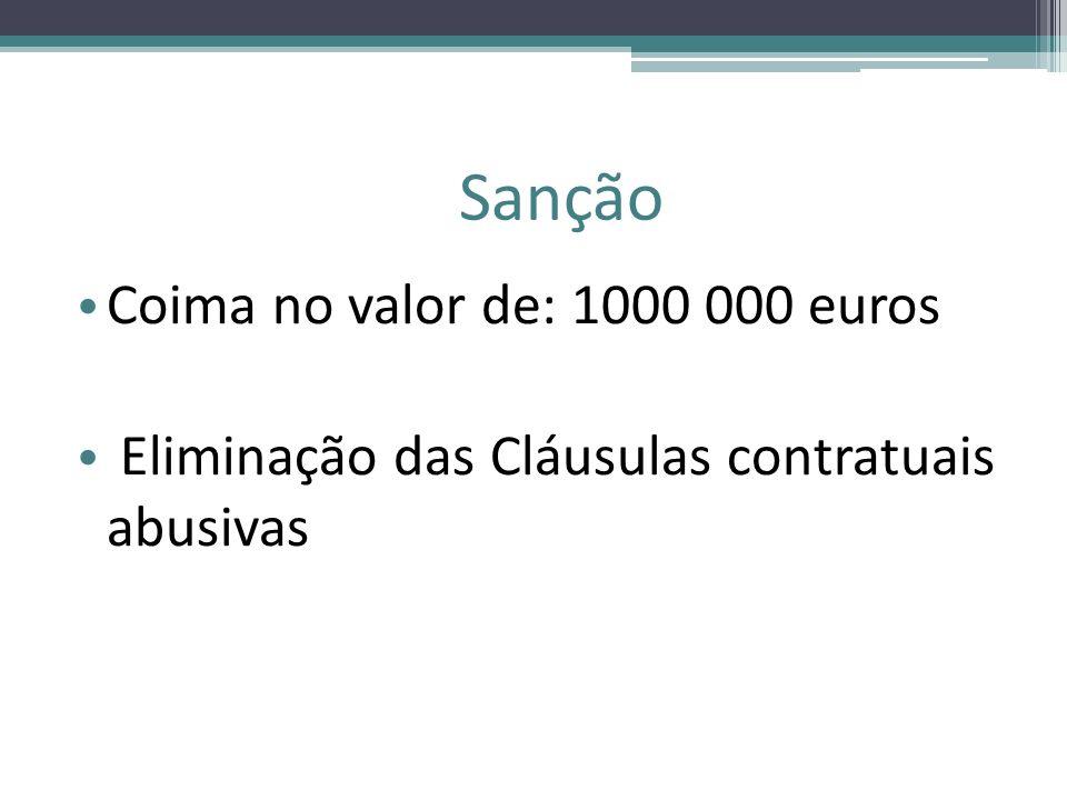 Sanção Coima no valor de: 1000 000 euros Eliminação das Cláusulas contratuais abusivas