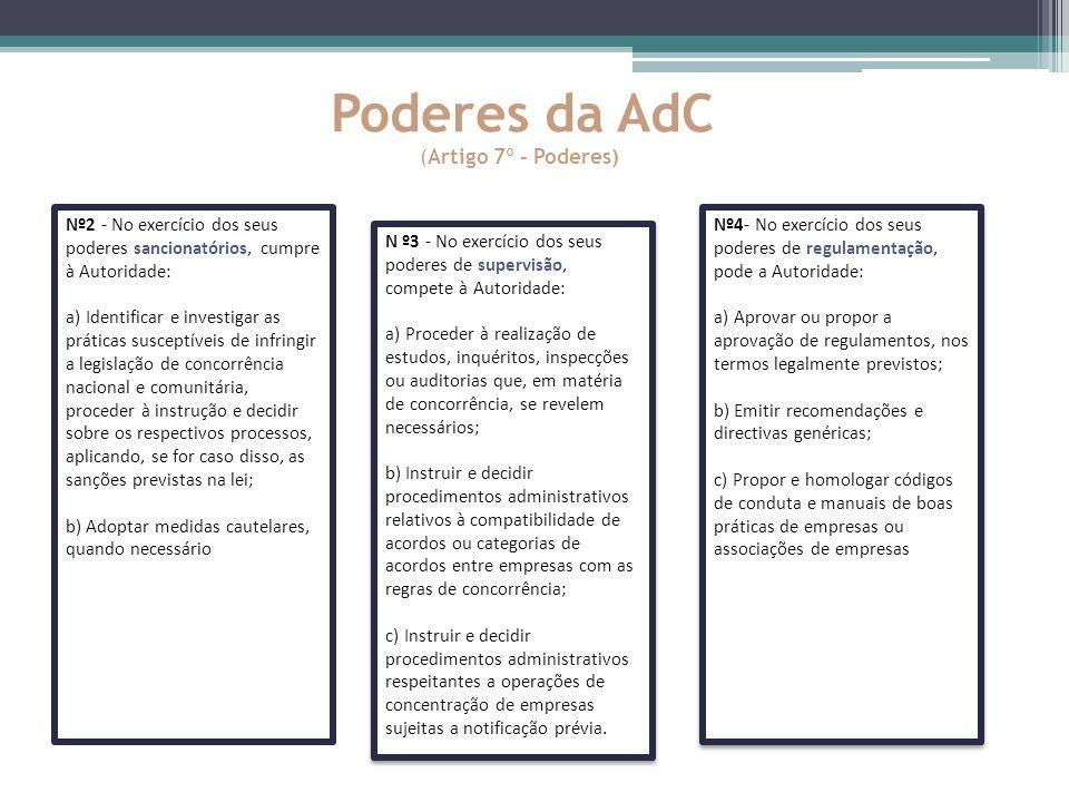 Poderes da AdC (Artigo 7º - Poderes) Nº2 - No exercício dos seus poderes sancionatórios, cumpre à Autoridade: a) Identificar e investigar as práticas