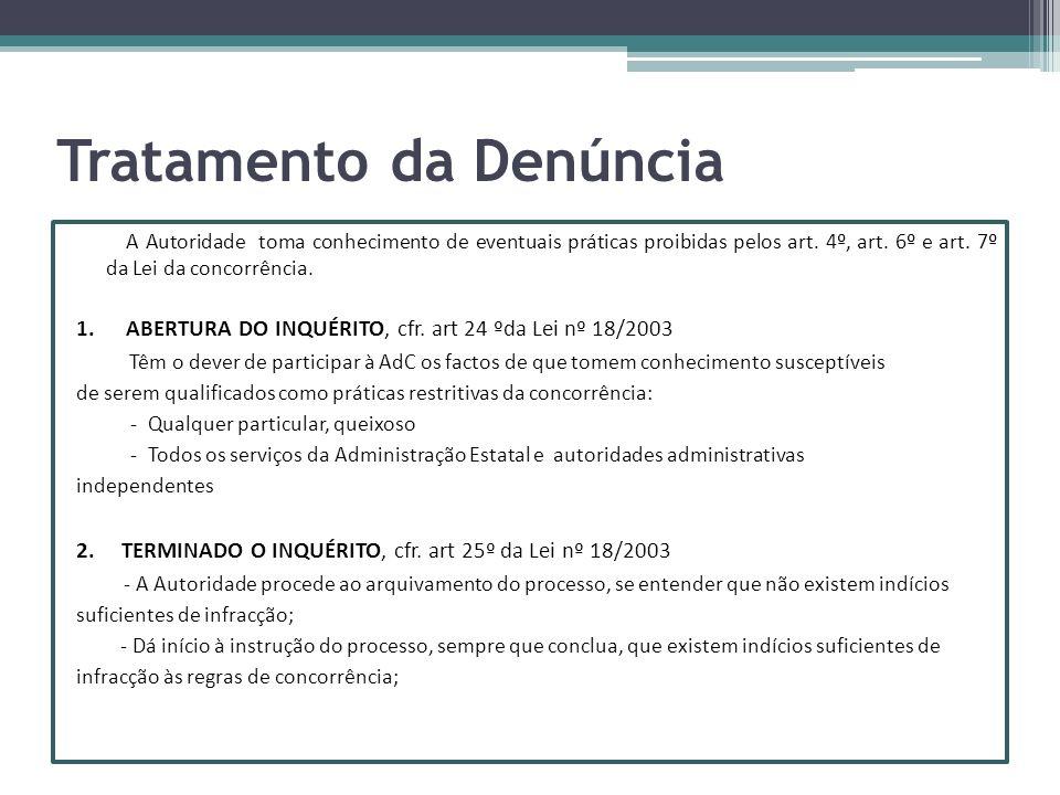 Tratamento da Denúncia A Autoridade toma conhecimento de eventuais práticas proibidas pelos art. 4º, art. 6º e art. 7º da Lei da concorrência. 1. ABER