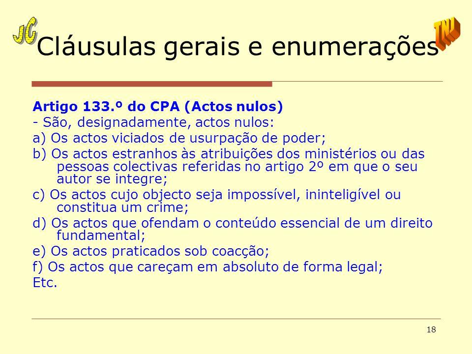 18 Cláusulas gerais e enumerações Artigo 133.º do CPA (Actos nulos) - São, designadamente, actos nulos: a) Os actos viciados de usurpação de poder; b)