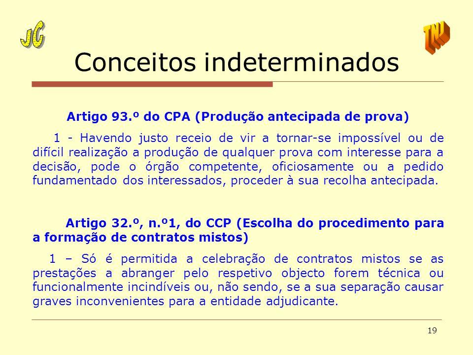 19 Conceitos indeterminados Artigo 93.º do CPA (Produção antecipada de prova) 1 - Havendo justo receio de vir a tornar-se impossível ou de difícil rea