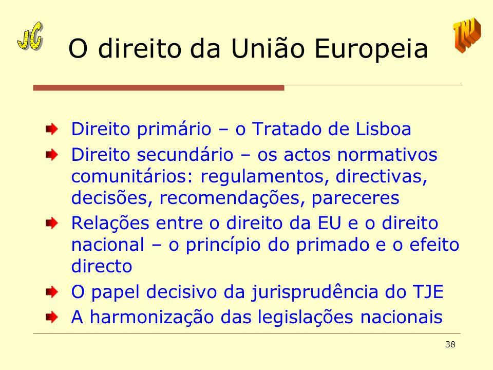 38 O direito da União Europeia Direito primário – o Tratado de Lisboa Direito secundário – os actos normativos comunitários: regulamentos, directivas,