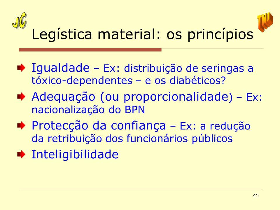 45 Legística material: os princípios Igualdade – Ex: distribuição de seringas a tóxico-dependentes – e os diabéticos? Adequação (ou proporcionalidade