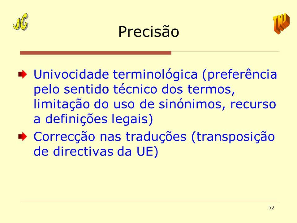 52 Precisão Univocidade terminológica (preferência pelo sentido técnico dos termos, limitação do uso de sinónimos, recurso a definições legais) Correc