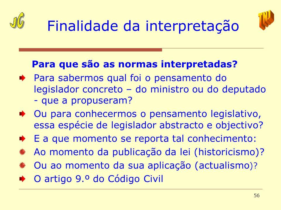 56 Finalidade da interpretação Para que são as normas interpretadas? Para sabermos qual foi o pensamento do legislador concreto – do ministro ou do de