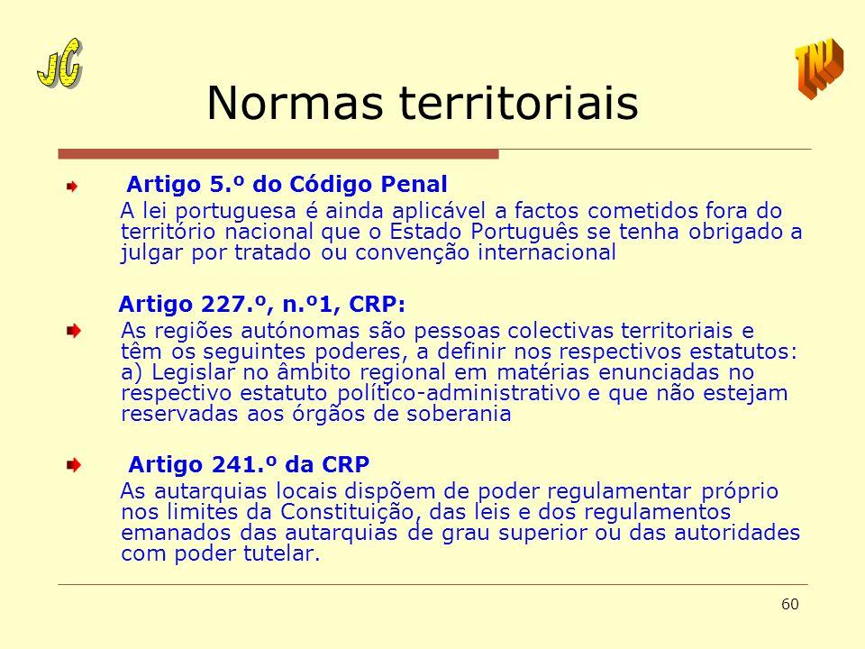60 Normas territoriais Artigo 5.º do Código Penal A lei portuguesa é ainda aplicável a factos cometidos fora do território nacional que o Estado Portu