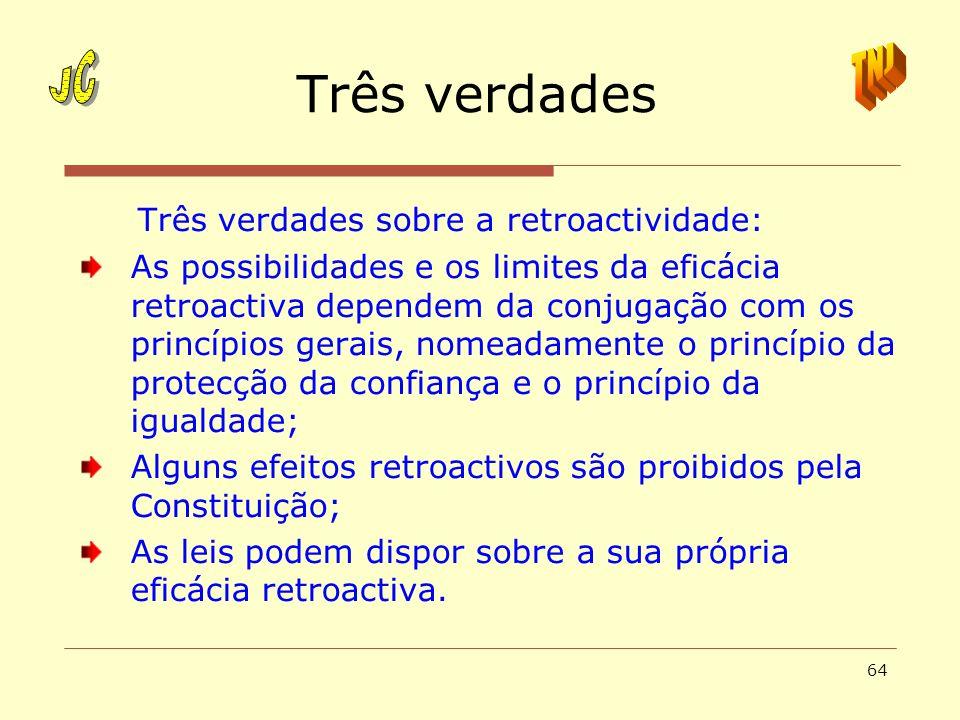 64 Três verdades Três verdades sobre a retroactividade: As possibilidades e os limites da eficácia retroactiva dependem da conjugação com os princípio
