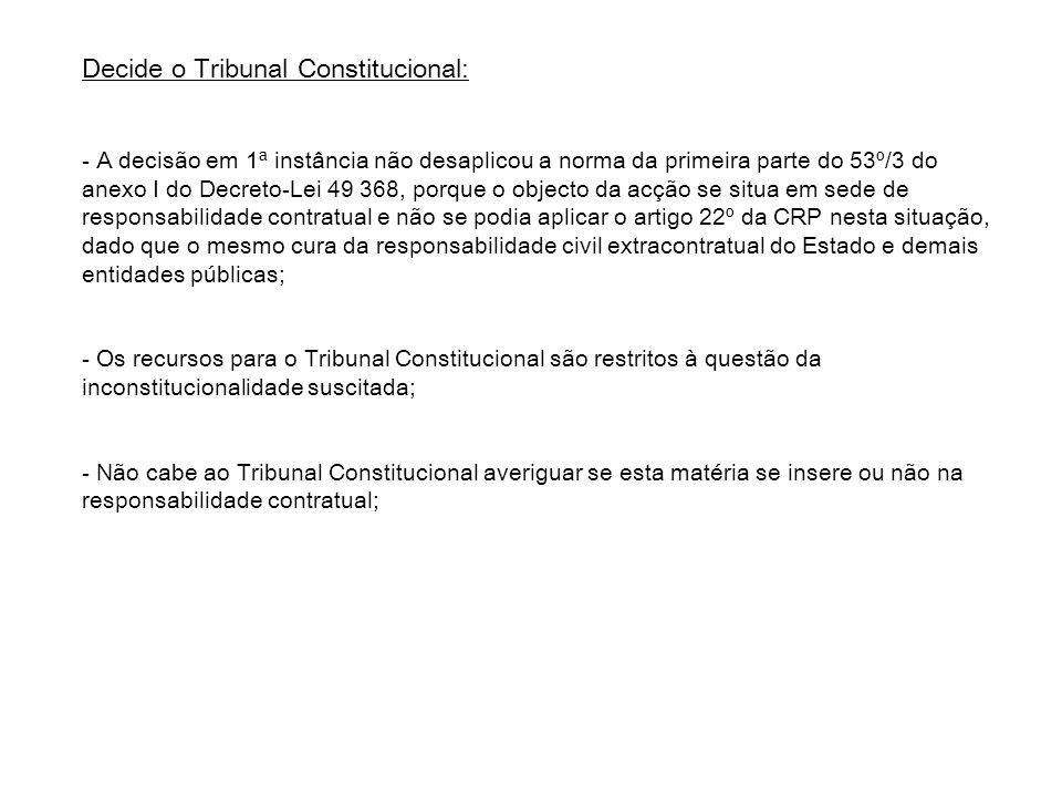 Decide o Tribunal Constitucional: - A decisão em 1ª instância não desaplicou a norma da primeira parte do 53º/3 do anexo I do Decreto-Lei 49 368, porq
