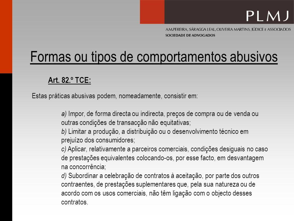 Formas ou tipos de comportamentos abusivos Estas práticas abusivas podem, nomeadamente, consistir em: a) Impor, de forma directa ou indirecta, preços