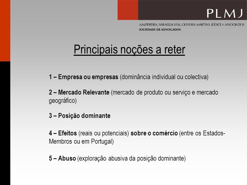 Principais noções a reter 2 – Mercado Relevante (mercado de produto ou serviço e mercado geográfico) 3 – Posição dominante 4 – Efeitos (reais ou poten