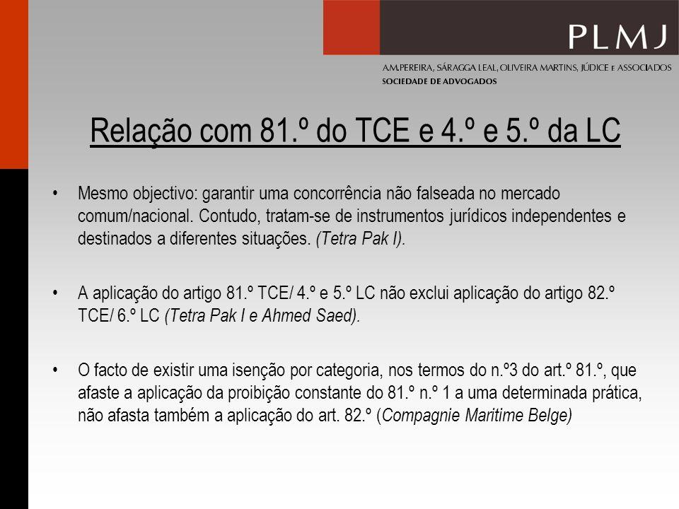 Relação com 81.º do TCE e 4.º e 5.º da LC Mesmo objectivo: garantir uma concorrência não falseada no mercado comum/nacional.