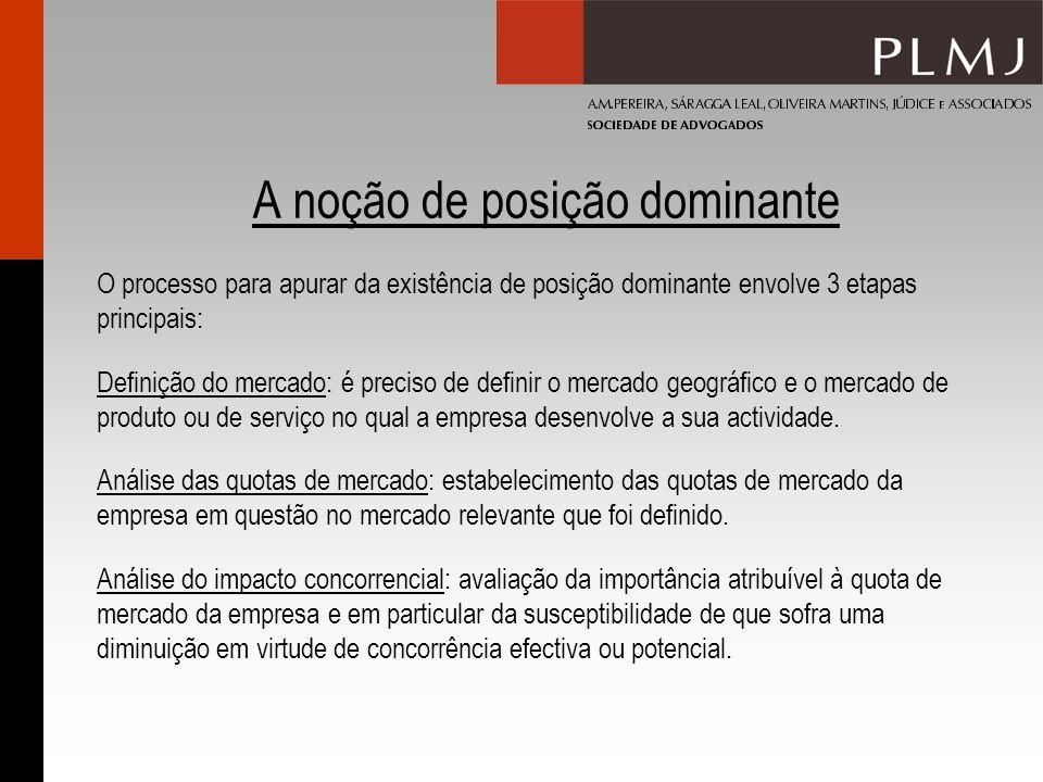 A noção de posição dominante O processo para apurar da existência de posição dominante envolve 3 etapas principais: Definição do mercado: é preciso de
