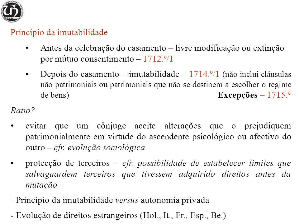 Princípio da imutabilidade Antes da celebração do casamento – livre modificação ou extinção por mútuo consentimento – 1712.º/1 Depois do casamento – i