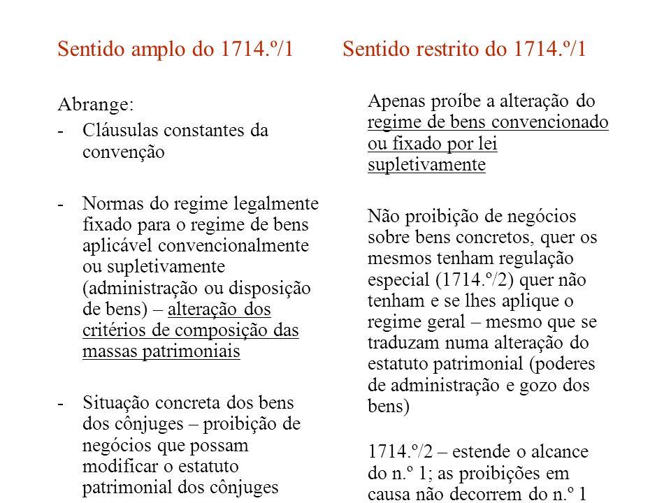 Sentido amplo do 1714.º/1 Abrange: -Cláusulas constantes da convenção -Normas do regime legalmente fixado para o regime de bens aplicável convencional