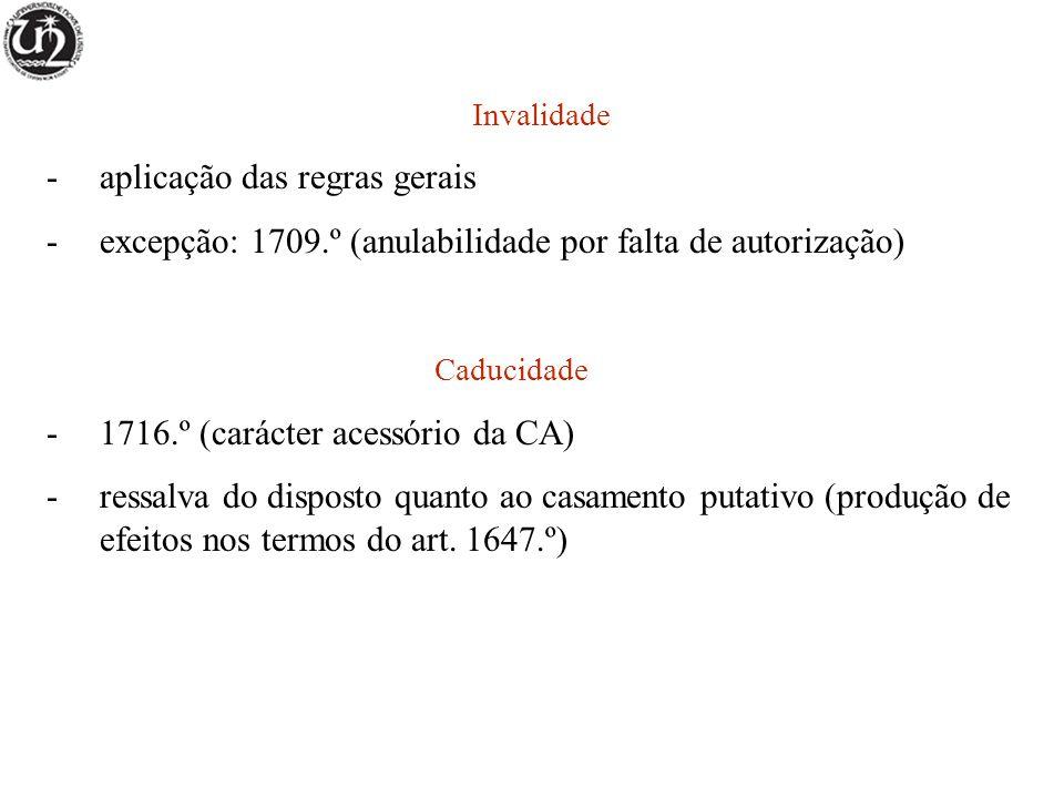 Invalidade -aplicação das regras gerais -excepção: 1709.º (anulabilidade por falta de autorização) Caducidade -1716.º (carácter acessório da CA) -ress