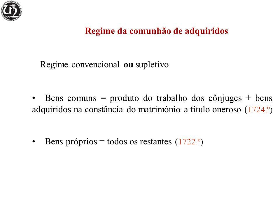 Regime da comunhão de adquiridos Regime convencional ou supletivo Bens comuns = produto do trabalho dos cônjuges + bens adquiridos na constância do ma