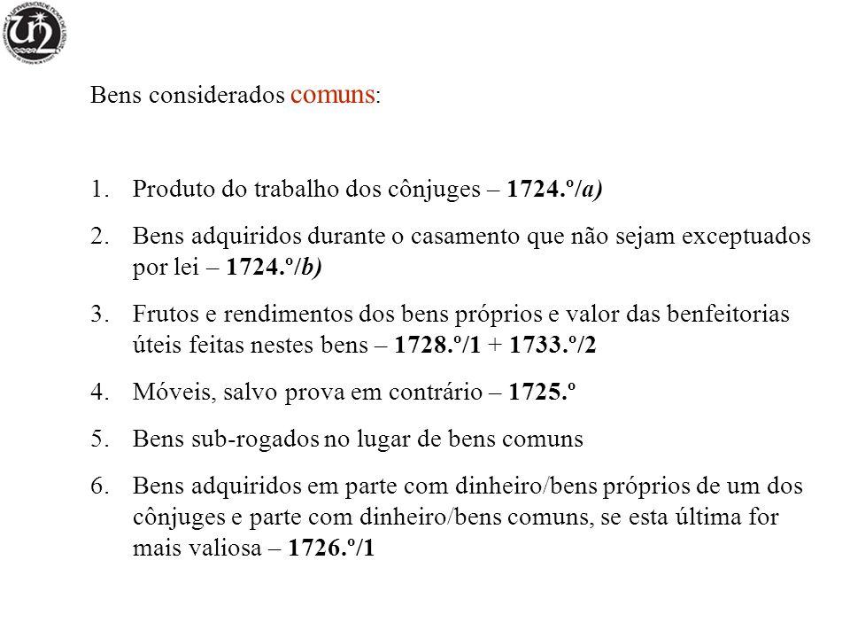 Bens considerados comuns : 1.Produto do trabalho dos cônjuges – 1724.º/a) 2.Bens adquiridos durante o casamento que não sejam exceptuados por lei – 17
