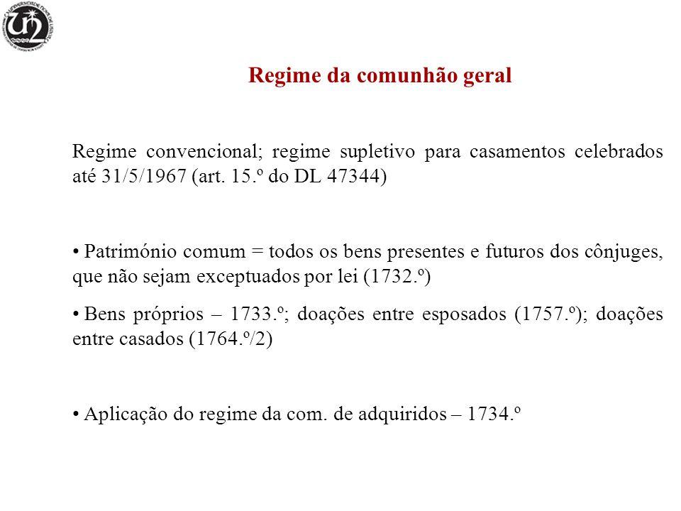 Regime da comunhão geral Regime convencional; regime supletivo para casamentos celebrados até 31/5/1967 (art. 15.º do DL 47344) Património comum = tod