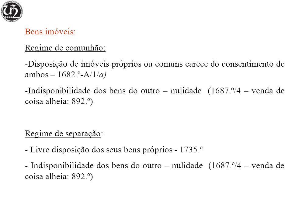 Bens imóveis: Regime de comunhão: -Disposição de imóveis próprios ou comuns carece do consentimento de ambos – 1682.º-A/1/a) -Indisponibilidade dos be