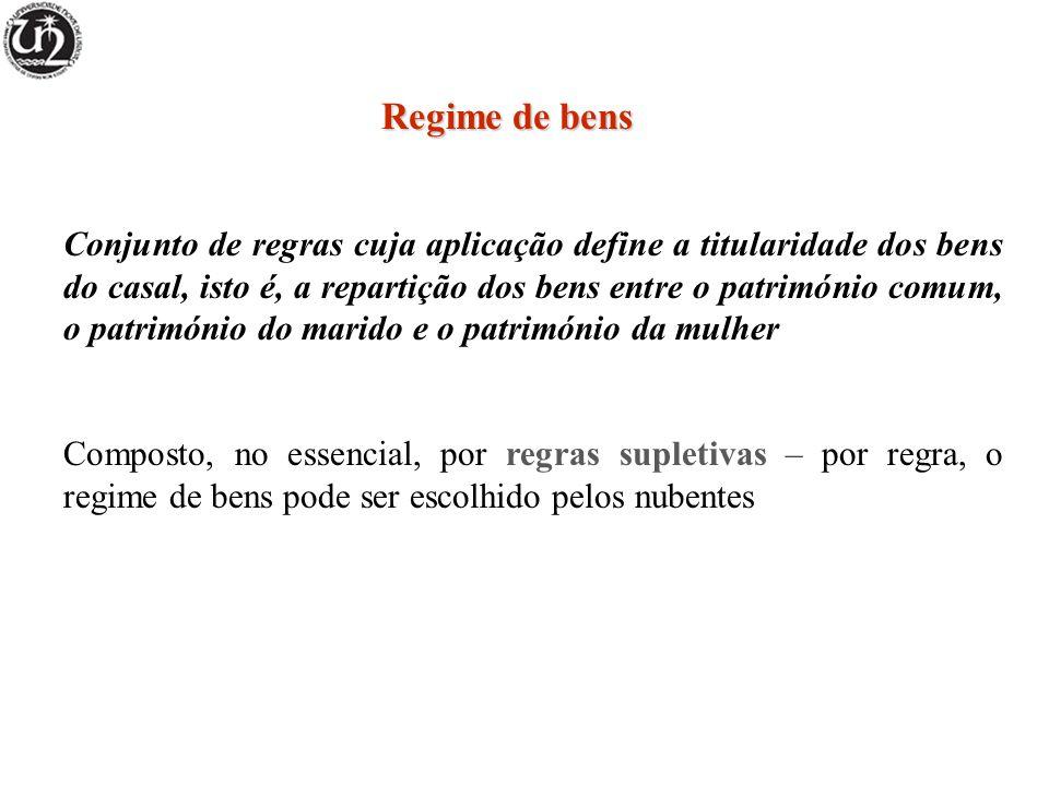 Regime da comunhão de adquiridos Regime convencional ou supletivo Bens comuns = produto do trabalho dos cônjuges + bens adquiridos na constância do matrimónio a título oneroso ( 1724.º) Bens próprios = todos os restantes ( 1722.º)