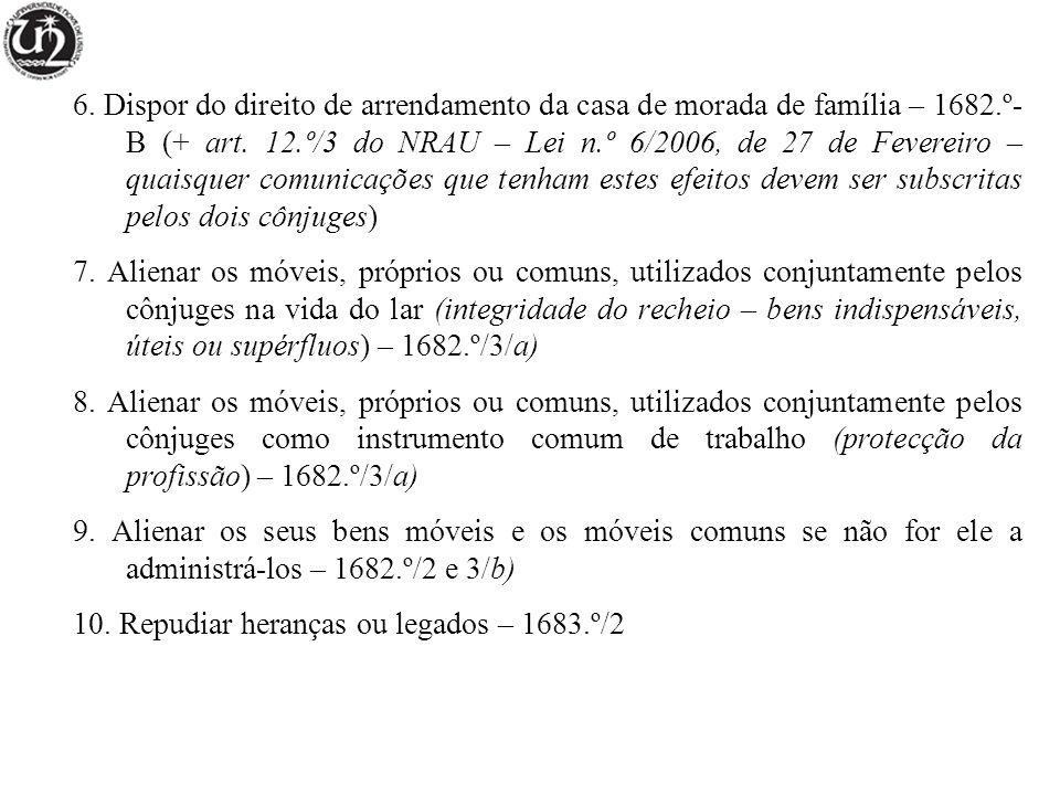 6. Dispor do direito de arrendamento da casa de morada de família – 1682.º- B (+ art. 12.º/3 do NRAU – Lei n.º 6/2006, de 27 de Fevereiro – quaisquer