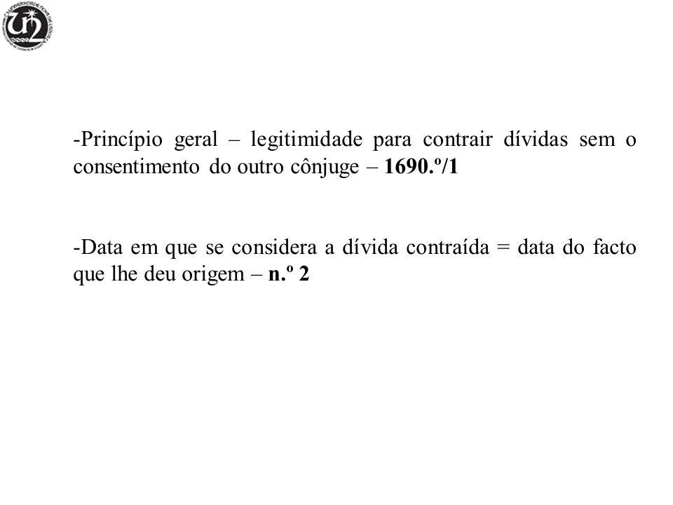-Princípio geral – legitimidade para contrair dívidas sem o consentimento do outro cônjuge – 1690.º/1 -Data em que se considera a dívida contraída = d