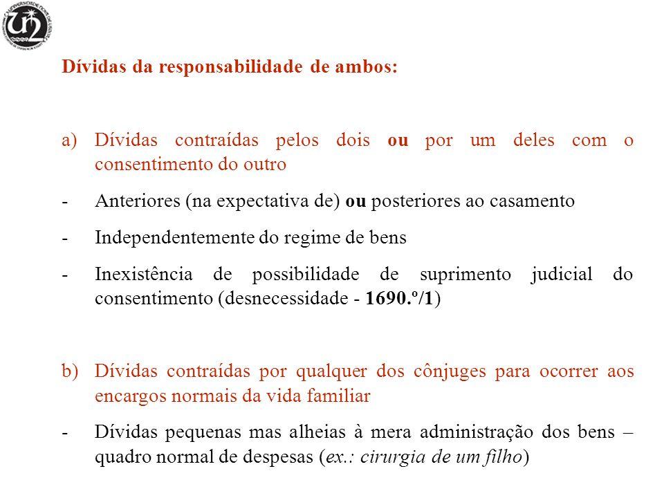 Dívidas da responsabilidade de ambos: a)Dívidas contraídas pelos dois ou por um deles com o consentimento do outro -Anteriores (na expectativa de) ou