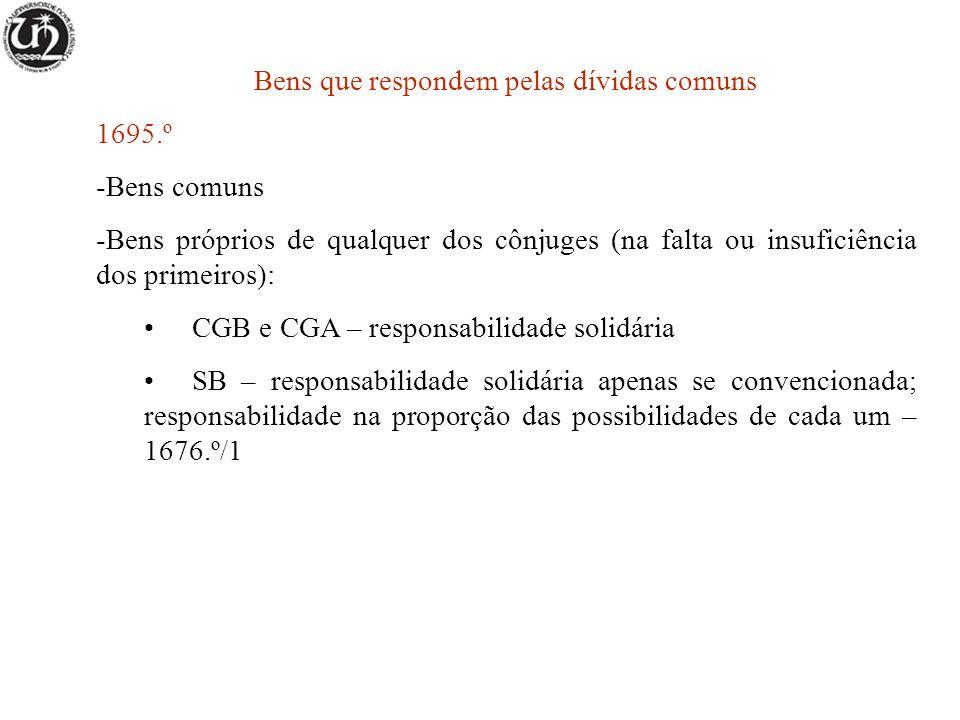 Bens que respondem pelas dívidas comuns 1695.º -Bens comuns -Bens próprios de qualquer dos cônjuges (na falta ou insuficiência dos primeiros): CGB e C