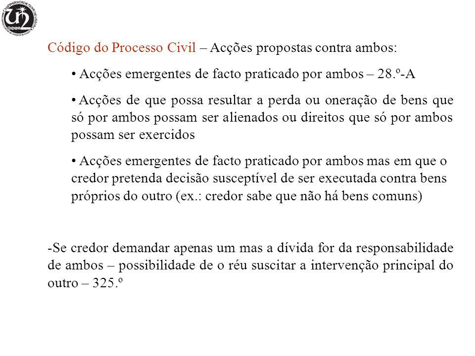 Código do Processo Civil – Acções propostas contra ambos: Acções emergentes de facto praticado por ambos – 28.º-A Acções de que possa resultar a perda