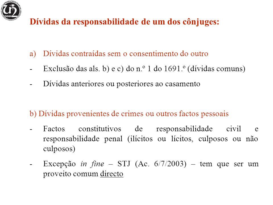 Dívidas da responsabilidade de um dos cônjuges: a)Dívidas contraídas sem o consentimento do outro -Exclusão das als. b) e c) do n.º 1 do 1691.º (dívid