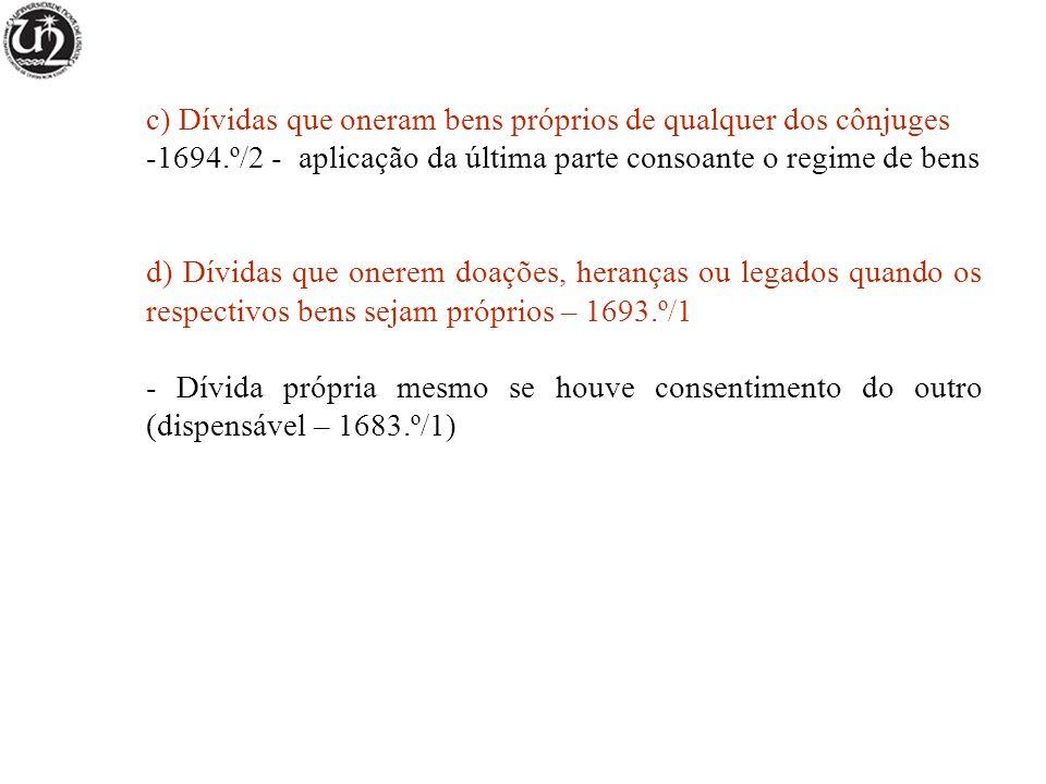 c) Dívidas que oneram bens próprios de qualquer dos cônjuges -1694.º/2 - aplicação da última parte consoante o regime de bens d) Dívidas que onerem do