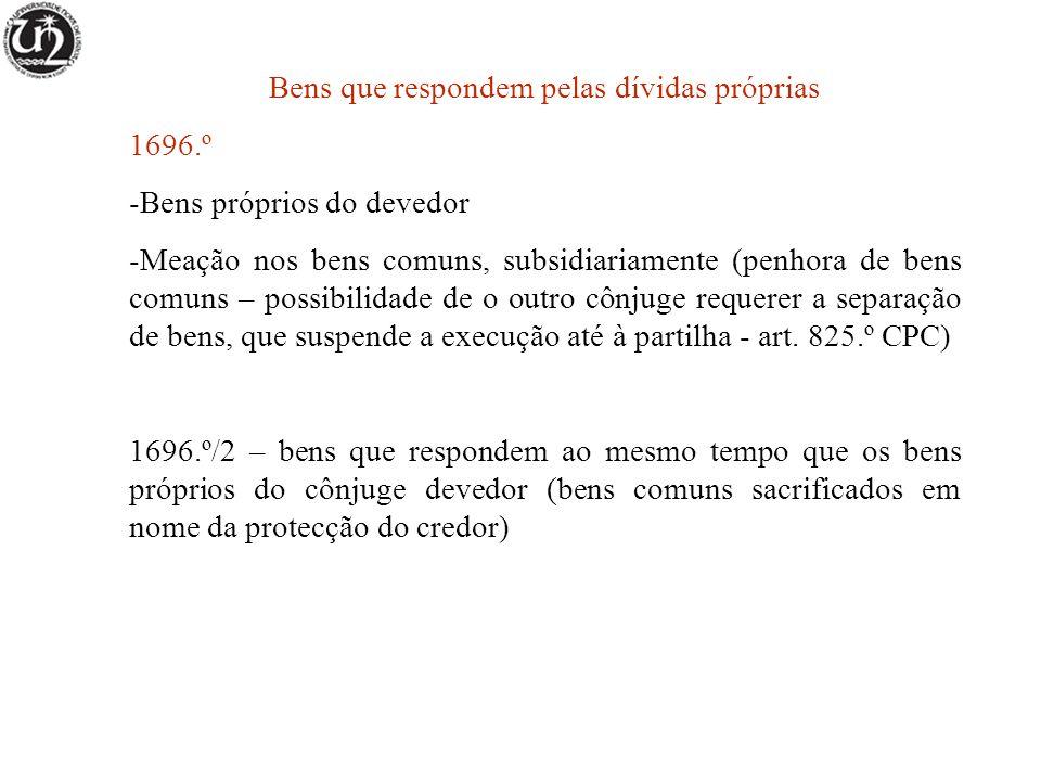 Bens que respondem pelas dívidas próprias 1696.º -Bens próprios do devedor -Meação nos bens comuns, subsidiariamente (penhora de bens comuns – possibi