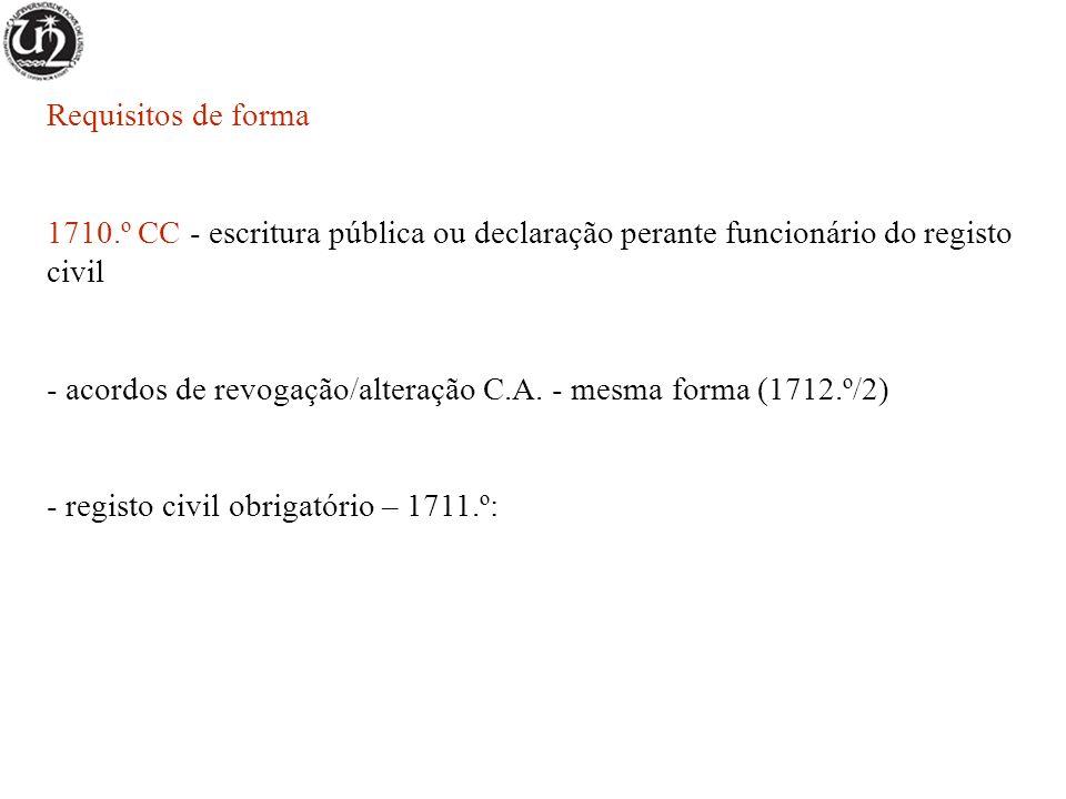 Requisitos de forma 1710.º CC - escritura pública ou declaração perante funcionário do registo civil - acordos de revogação/alteração C.A. - mesma for