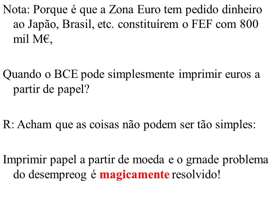 Nota: Porque é que a Zona Euro tem pedido dinheiro ao Japão, Brasil, etc.