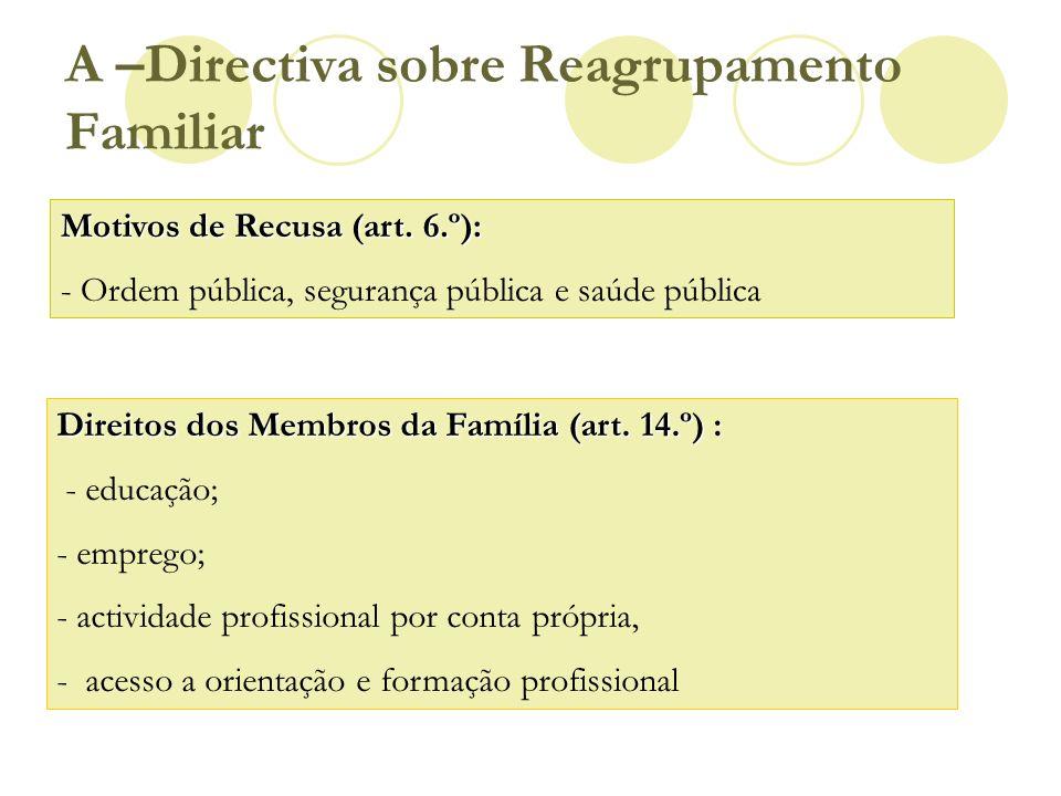 Motivos de Recusa (art. 6.º): - Ordem pública, segurança pública e saúde pública Direitos dos Membros da Família (art. 14.º) : - educação; - emprego;